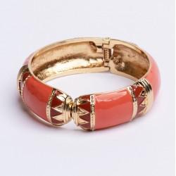 Bracelet Jonc Large Amok ETHNIQUE doré émaillé Brique ARGELOUSE