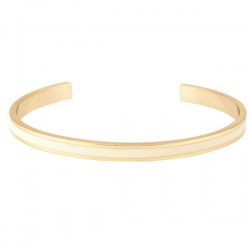 Bracelet jonc ouvert BANGLE UP - Laiton doré & émail blanc sable