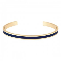 Bracelet jonc ouvert Bangle - Laiton doré & Email bleu nuit - BANGLE UP